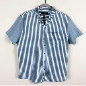 NEW Forever 21 Men Striped Button Down Denim Top